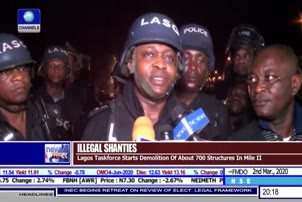 Lagos Task Force Starts Demolition Of Illegal Structures In Mile-2
